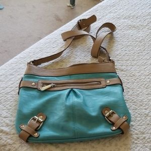 Cute blue and tan cross body or shoulder purse and